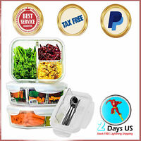 PERFECT Glass Meal Prep Containers 3 Compartment with Lids 3 Pack Cutlery Set