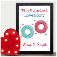 Couples Gifts for Her Him PERSONALISED Doughnut Couples Anniversary Present