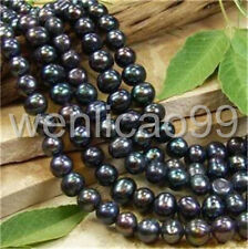 7-8MM Black freshwater Cultured Pearl Round Loose Beads 15""