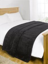 Couvertures lavable en machine noirs en polyester pour le lit