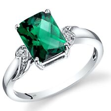 14k White Gold Created Emerald Diamond Ring Radiant Cut 2 Carats Size 7