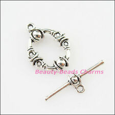 4Sets Tibetan Silver Oval Circle Bracelet Toggle Clasps Connectors