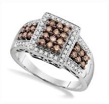 Diamond Ring 10K White Gold Genuine Chocolate Brown & White Diamond Band .65ct