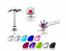 Marijuana Nose Stud Ring N141 1 22g 6mm Silver Clear Cz