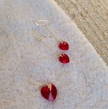 Swarovski Xilion Heart Red Crystal Necklace & Earrings/ Sterling Silver Chain