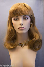 Light Strawberry Red Long Straight Wavy Wigs Bangs