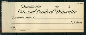 US CITIZENS BANK OF DANSVILLE, NEW YORK UNUSED CHECK 192???