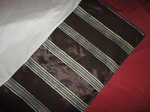 "CROSCILL ROYALTON STRIPE BLUE BROWN ESPRESSO QUEEN BEDSKIRT 15"" SPLIT CORNER"