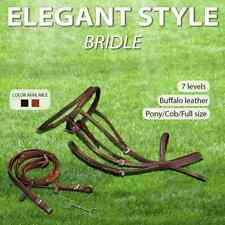 vidaXL Flash Bridle with Reins and Bit Leather Halter Brown/Black Multi Sizes