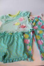 NWT 18 mos girls Little Me 3 piece pajama set sheep top, pants, shorts