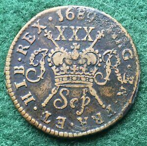 IRELAND JAMES II 1689 SEPTEMBER GUNMONEY HALFCROWN -nVF