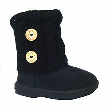 New Kids Boots Toddler Girls Cute 2 buttons Faux Fur Suede Knitting Shoes-285