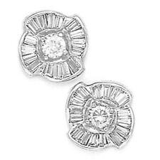 14K Solid White Gold 10MM Cubic Zircon Flower Stud Earrings Puch Back ER-PEW34