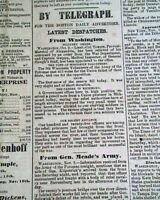 SECOND BATTLE OF RAPPAHANNOCK STATION & Fort Sumter 1863 Civil War Newspaper