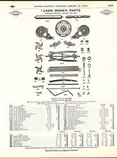 1910 ADVERT Lawn Mower Parts Repair Price List Diagram Lawnmaker White Clover