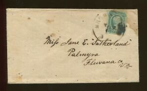 1864 Confederate Postage Stamp #12c Brownsburg to Palmyra Virginia Postal Cover