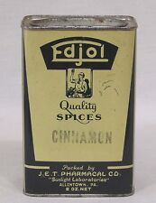 Vintage Spice Tin Edjol Cinnamon 8 oz. JET Pharmacal Allentown PA