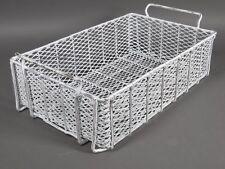 "Vintage Steel Wire Basket Industrial Storage Bin Tray White Painted 21"" x 13"""