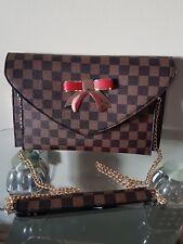 women lady Brown an red check  medium size clutch purse crossbody messenger bag