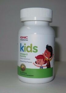 GNC Milestones KIDS Omega-3 Gummy 60 Gummies Lemon & Strawberry
