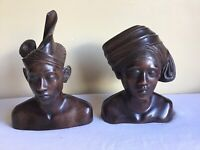 Vintage Genuine Authentic Hand Carved Wooden Bali Indonesian Couple Bust Statue