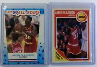 Lot of 2: 1989 Fleer Hakeem Olajuwon #61 & #2, Houston Rockets, HOF