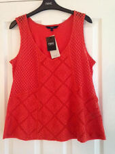 NEXT Ladies Orange Crochet Back Vest Top Size 14 With Tags