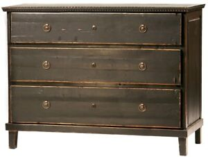 """46"""" L Dresser 3 drawer antiqued black solid wood swedish design brass hardware"""