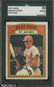 1972 Topps #560 Pete Rose In Action Cincinnati Reds SGC 80 EX-NM 6