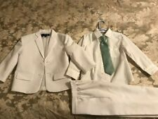 Children's Clothing - Gino Giovanni 3-piece Suit, Size 4T, White/Mint Green