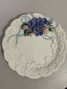 Fitz and Floyd1993 Embossed Bone Colored Plate with Pink Roses and Blue Flowers