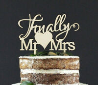 Finally Mr & Mrs Wooden Wedding Cake Topper Decoration Keepsake