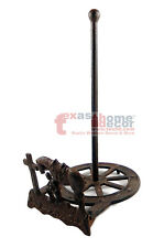 Western Praying Cowboy Paper Towel Holder Cast Iron Wagon Wheel Antique Style