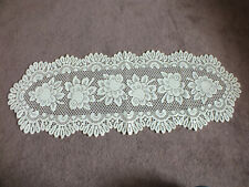 "Beautiful Heritage Lace Doily Table Linen Off White 44 x 15"" NICE"