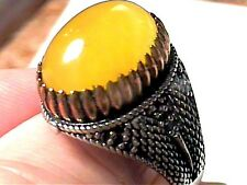 Sterling Silver 925 ring YELLOW AGATE NATURAL MEN ELEGANT BOLD NICE 10.5 BOLD