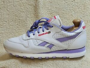 Reebok Classic Ladies trainers Leather White/Lilac UK 8 EUR 42 US 10.5