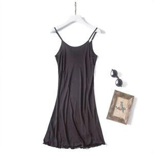 Women Knitted Silk Slip Dress Petticoats Strap Spaghetti Nightdress Camisole