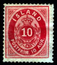 ICELAND #11v 10aur Carmine Rare Shade WM Crown Unused HR 1876