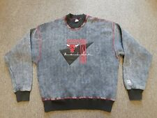 VTG 90s NBA Chicago Bulls Embroidered Crewneck Sweatshirt Acid Wash Black Large
