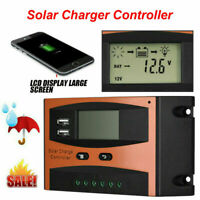 Waterproof Solar Panel PWM Smart Phone Charger Controller LCD Display USB 30A
