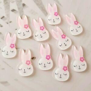 Pack of 10 Easter Bunny Rabbit Flatbacks, Resins for Bow Making, Embellishments