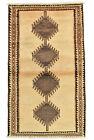 Vintage Tribal Oriental Gabbeh Rug, 4'x7', Beige, Hand-Knotted Wool Pile