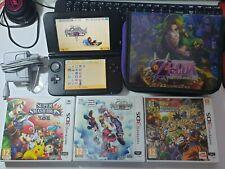Nintendo 3ds xl negra con 3 juegos originales y funda Zelda