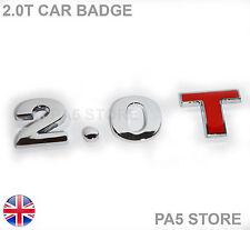 2.0T Chrome & Red Car Badge - 2 Litre Turbo - 3 Piece -Audi V W Saab Ford Toyota