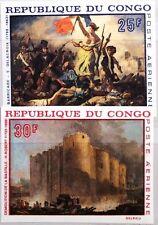 KONGO BRAZZAVILLE 1968 163-64 U ex C62-66 Paintings Gemälde Bastille Revolution