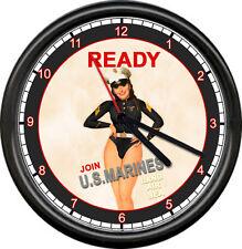 US Marine Corps USMC Sexy Pinup Girl In Marine Style Uniform Sign Wall Clock