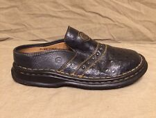 DOUBLE H BOOTS OSTRICH PATTERN LEATHER SLIP ON MULES CLOGS 3 1/2TEEN GIRLS