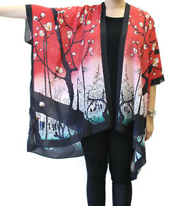 Edo Silk Long Kimono Jacket Oversized   One Size Plus  NWT