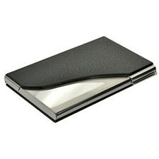 Business card holders ebay new black pu leatherstainless steel business name card case holder colourmoves Images