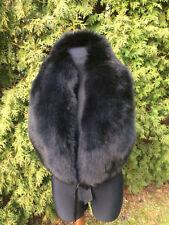 Finland Fox Fur Shawl 47' Inch. Black Fox Fur Boa Stole Colar